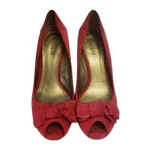 GUESS RED Suede Peep Toe Wedges Size 9M